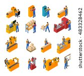 factory workers isometric icons ... | Shutterstock .eps vector #483328462