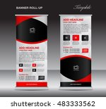 red roll up banner stand... | Shutterstock .eps vector #483333562
