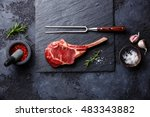 raw fresh meat veal rib steak... | Shutterstock . vector #483343882