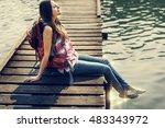 backpacker casual travel...   Shutterstock . vector #483343972