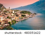 panorama of limone sul garda  a ... | Shutterstock . vector #483351622