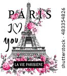 paris flower slogan graphic for ... | Shutterstock . vector #483354826