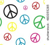 peace sign on white pattern in... | Shutterstock .eps vector #483355285