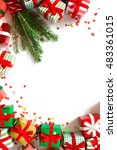 christmas card with small gifts ... | Shutterstock . vector #483361015