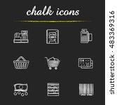 supermarket chalk icons set.... | Shutterstock .eps vector #483369316