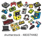 set of video game doodle | Shutterstock .eps vector #483374482