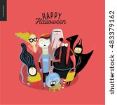 trick or treat group of... | Shutterstock .eps vector #483379162