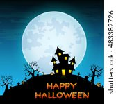 halloween night background with ... | Shutterstock .eps vector #483382726