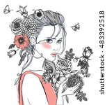 portrait of young beautiful... | Shutterstock .eps vector #483392518