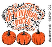 pumpkin patch. halloween poster ... | Shutterstock .eps vector #483404002