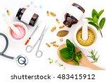 herbal medicine vs chemical... | Shutterstock . vector #483415912