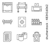 isolated vector printer icons... | Shutterstock .eps vector #483416062