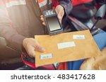 postman using tablet scanning...   Shutterstock . vector #483417628