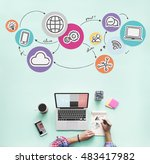 technology connection digital... | Shutterstock . vector #483417982