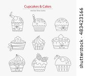 set of cupcakes and cakes icons ... | Shutterstock .eps vector #483423166