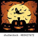 halloween background vector... | Shutterstock .eps vector #483427672