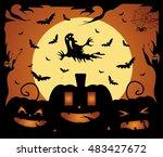 halloween background vector... | Shutterstock .eps vector #483427672
