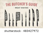 meat cutting knives set. poster ... | Shutterstock . vector #483427972