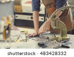leather craft workshop owner at ... | Shutterstock . vector #483428332