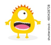 yellow monster with one eye ... | Shutterstock . vector #483428728