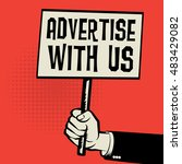 hand holding poster  business... | Shutterstock .eps vector #483429082