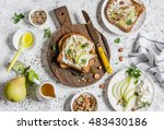 toast with cheese  pear  honey... | Shutterstock . vector #483430186