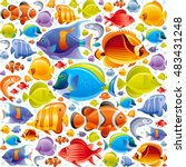 Seamless Sea travel icon set, underwater diving animal - tropical fish. Vector illustration abstract template. Elegant modern style, white background. Angel, butterfly and more marine fishes icons