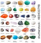 various tumbled gemstones with... | Shutterstock . vector #483433798
