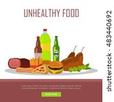 unhealthy food banner isolated... | Shutterstock .eps vector #483440692