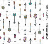 arrows seamless pattern. hand... | Shutterstock .eps vector #483448108