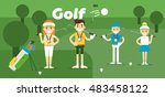 golf team on award with gold ... | Shutterstock . vector #483458122