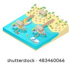 isometric tropical beach... | Shutterstock .eps vector #483460066