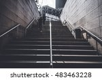 people running up the stairs... | Shutterstock . vector #483463228