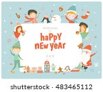 cute christmas card with santa... | Shutterstock .eps vector #483465112