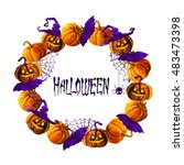 halloween border for design | Shutterstock . vector #483473398