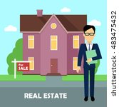 real estate realtor on the... | Shutterstock .eps vector #483475432