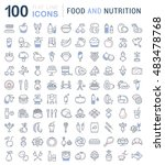 big set vector line icons meal  ... | Shutterstock .eps vector #483478768