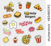 fashion patch badges. fast food ... | Shutterstock .eps vector #483480292