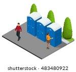 isometric bio mobile toilets in ...   Shutterstock .eps vector #483480922