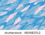 leaves pattern blue pale color. ... | Shutterstock . vector #483482512