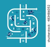 business metaphor. business... | Shutterstock .eps vector #483486052