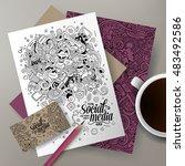 cartoon cute line art vector... | Shutterstock .eps vector #483492586