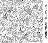 cartoon cute hand drawn picnic... | Shutterstock .eps vector #483492676