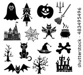 halloween design elements set.... | Shutterstock .eps vector #483495496