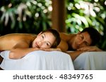 an attractive young couple... | Shutterstock . vector #48349765