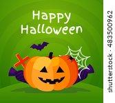 halloween background with... | Shutterstock .eps vector #483500962
