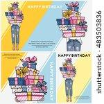 bright happy birthday... | Shutterstock .eps vector #483503836