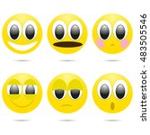 vector smiley face icons with... | Shutterstock .eps vector #483505546