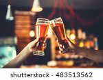 two friends toasting with... | Shutterstock . vector #483513562