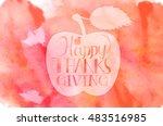 happy thanksgiving  vintage... | Shutterstock .eps vector #483516985